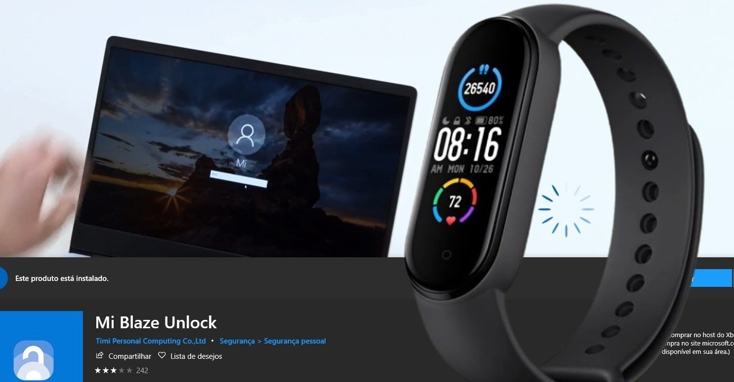Mi Band 4 e notebook windows