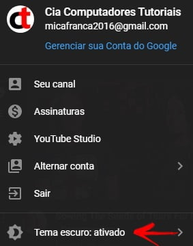 Como ativar o tema escuro do Youtube