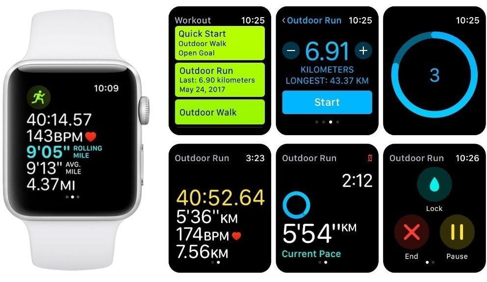 Apple Watch telas de exercícios