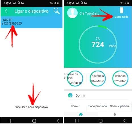 Conectando dispositivo no app youBand